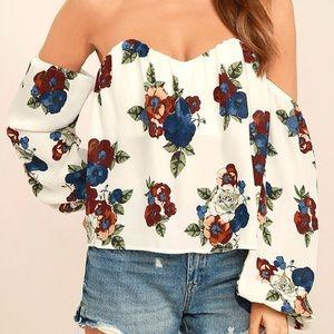 NWOT Lulus Off The Shoulder Floral Crop Top